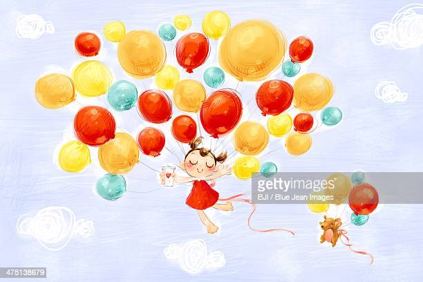 little girl and puppy flying in the sky with balloons - animal limb stock illustrations, clip art, cartoons, & icons