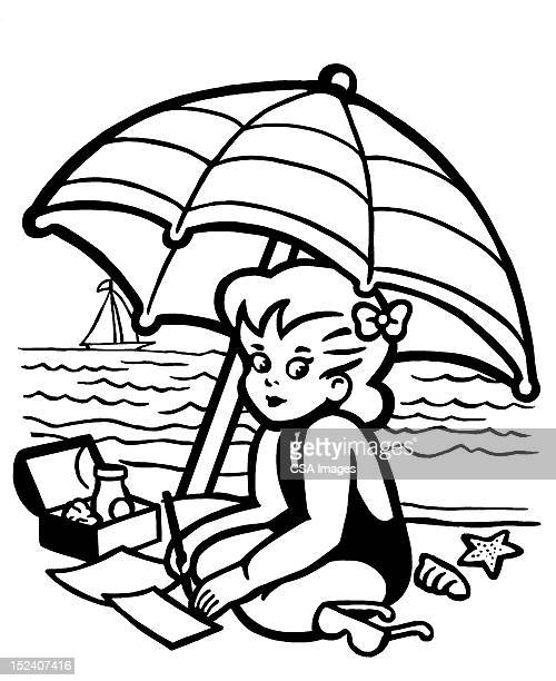 little girl at the beach - one girl only stock illustrations, clip art, cartoons, & icons