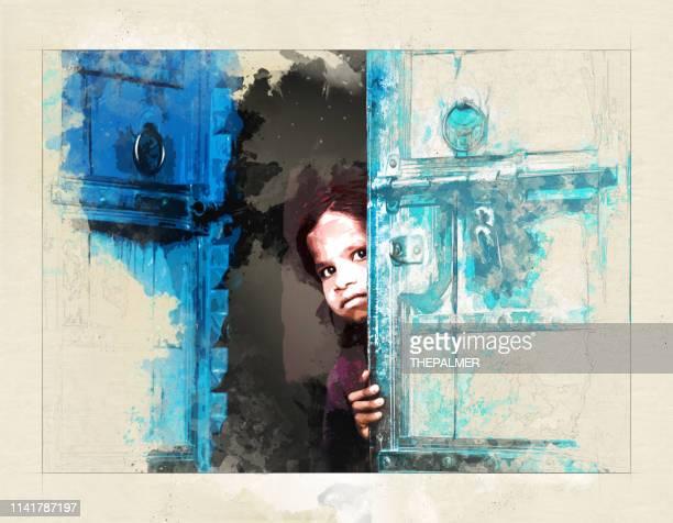 little girl behind a door - mixed digital technique - innocence stock illustrations
