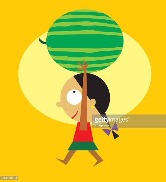 a little girl carrying a large watermelon above her head - number of people stock illustrations, clip art, cartoons, & icons