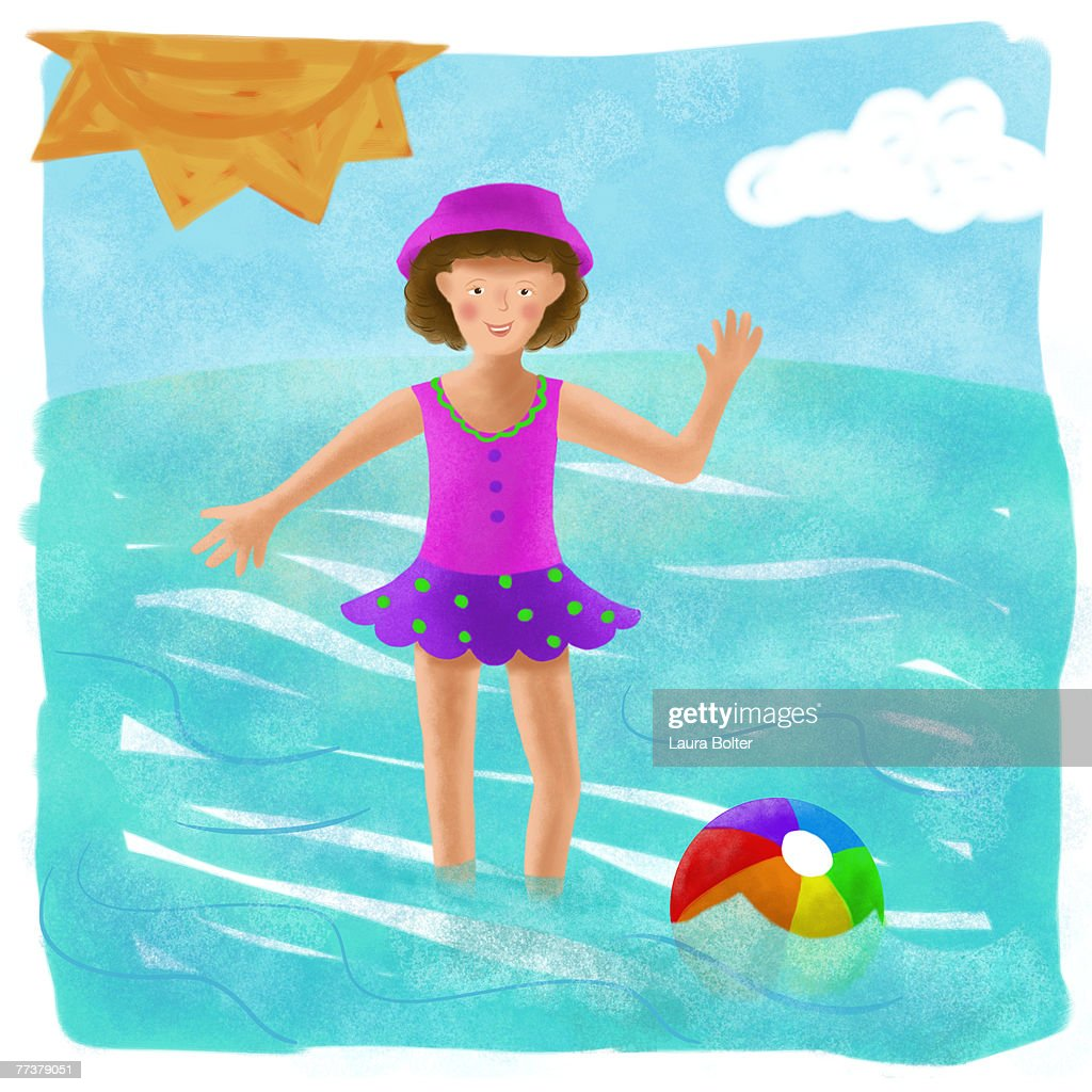 A little girl enjoying a day at the beach : Illustration