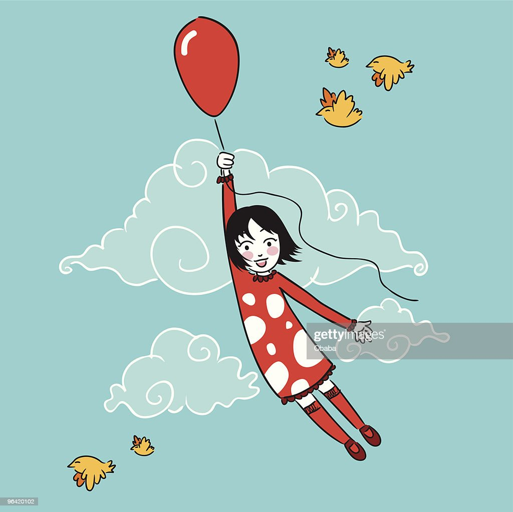 Little girl flying with a balloon