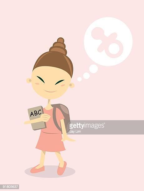 illustrations, cliparts, dessins animés et icônes de a little girl going to school and thinking about her pacifier - première rentrée scolaire