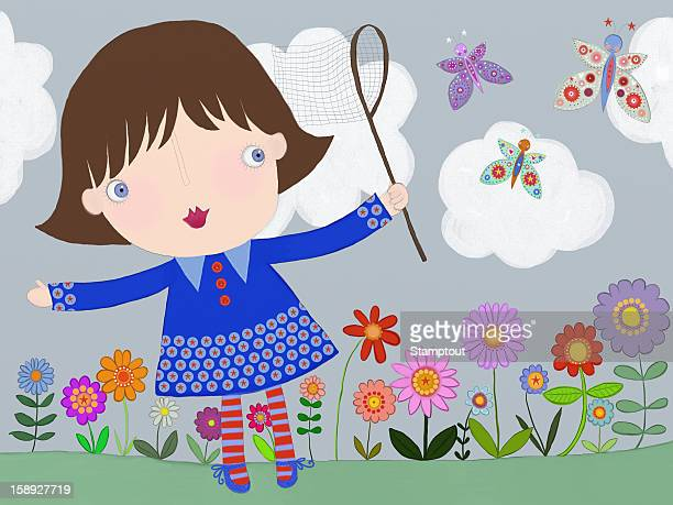 a little girl trying to catch butterflies with a net - one girl only stock illustrations, clip art, cartoons, & icons