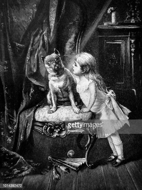 Little girl wants to kiss a dog in the living room - 1895
