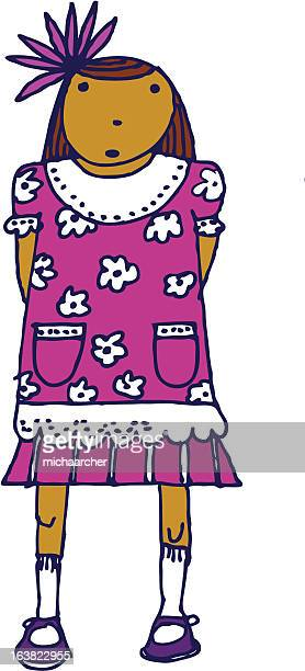little girl with a pink bow - sunday best stock illustrations, clip art, cartoons, & icons