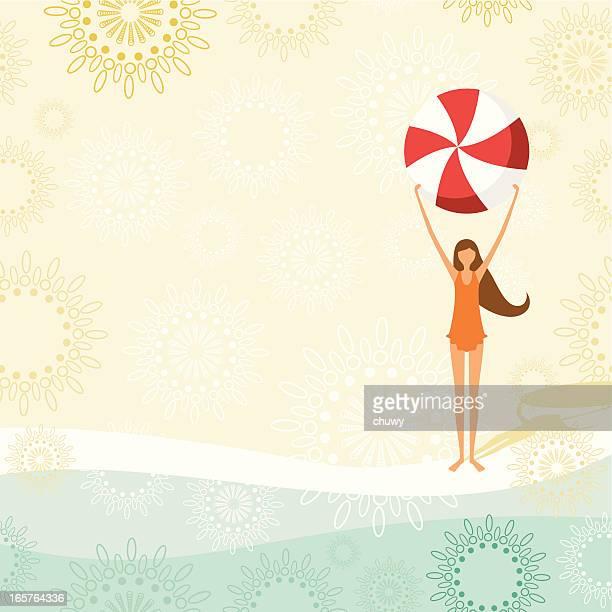 little girl with beach ball - swimwear stock illustrations, clip art, cartoons, & icons