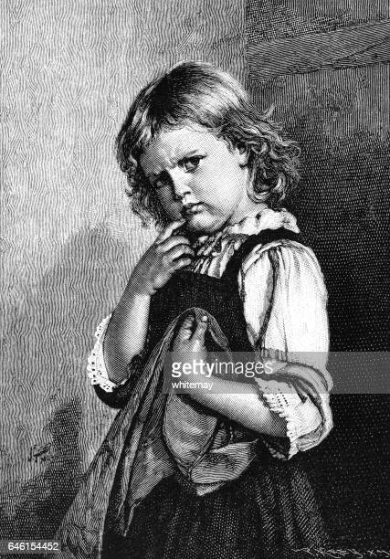 Little girl with cross expression
