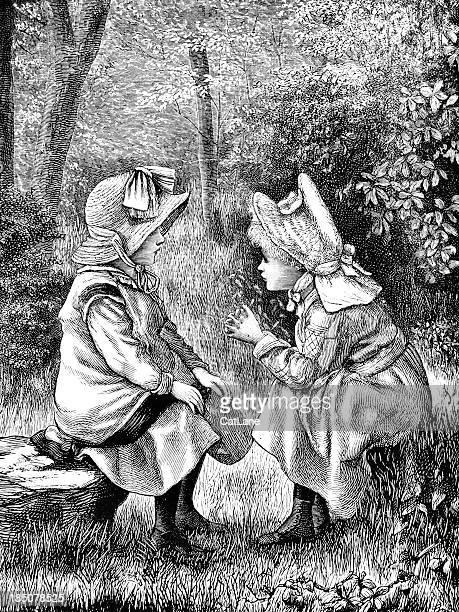 Little Girls Chatting - Victorian Illustration