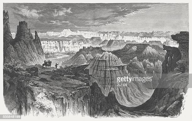 little missouri badlands, north dakota, wood engraving, published in 1883 - crag stock illustrations, clip art, cartoons, & icons