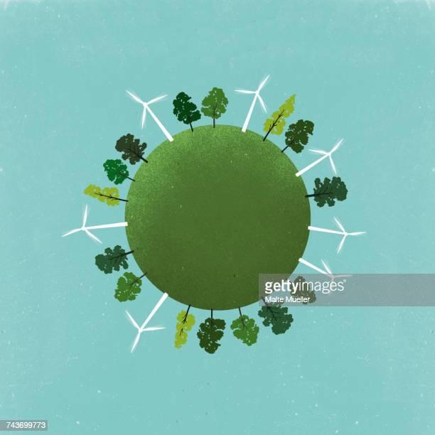 little planet image of windmills and trees on field against sky - umwelt stock-grafiken, -clipart, -cartoons und -symbole