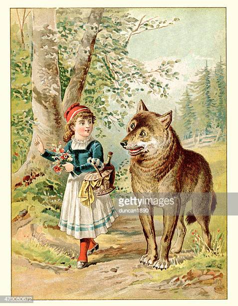 little red riding hood and the wolf - little red riding hood stock illustrations, clip art, cartoons, & icons