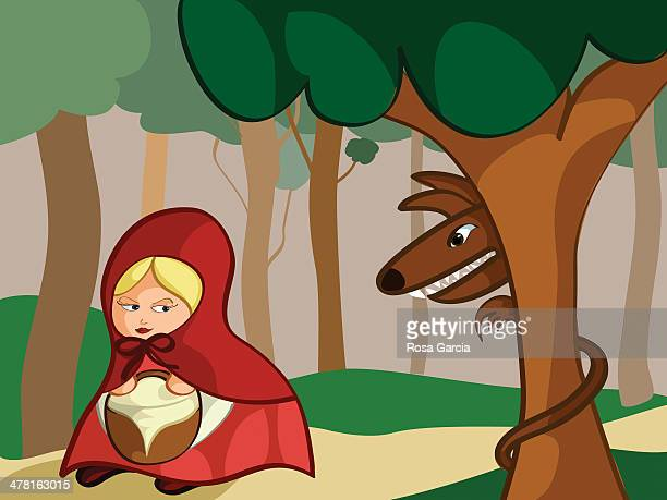 ilustrações de stock, clip art, desenhos animados e ícones de little red riding hood being watched by the big bad wolf - chapeuzinho vermelho
