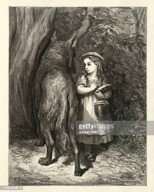 ilustrações de stock, clip art, desenhos animados e ícones de little red riding hood encounters the wolf in the woods - chapeuzinho vermelho
