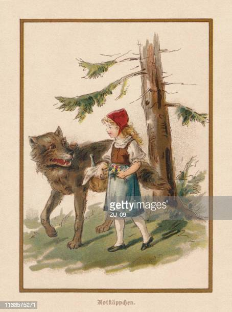 little red riding hood, european fairy tale, lithograph, published 1898 - little red riding hood stock illustrations, clip art, cartoons, & icons