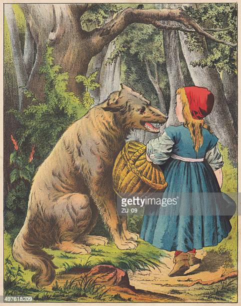 little red riding hood, lithograph, published in 1875 - little red riding hood stock illustrations, clip art, cartoons, & icons