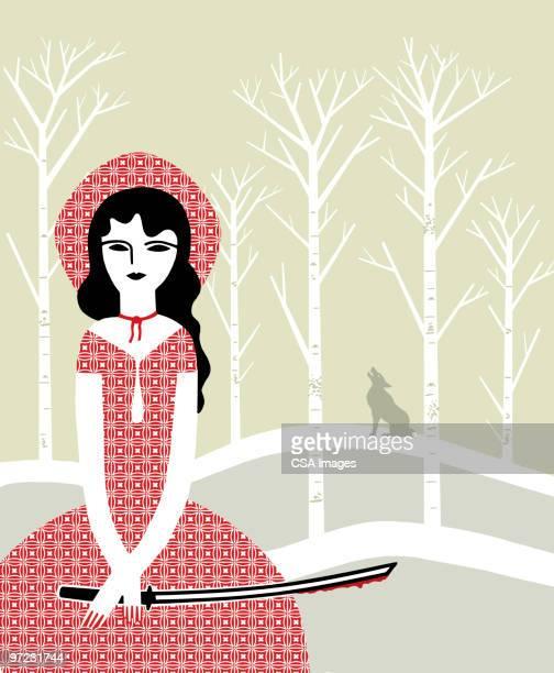 ilustrações de stock, clip art, desenhos animados e ícones de little red riding hood with sword - chapeuzinho vermelho