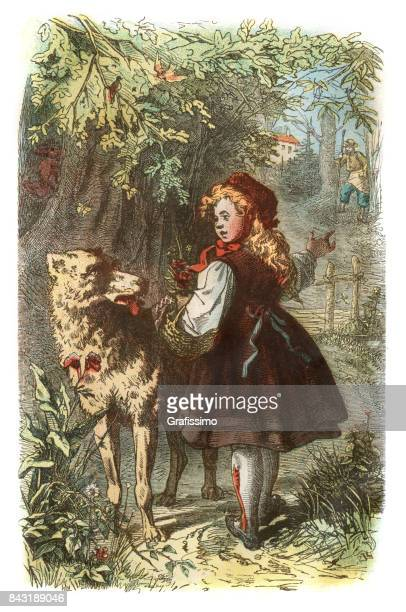 little red riding hood with wolf in forest 1873 - little red riding hood stock illustrations, clip art, cartoons, & icons