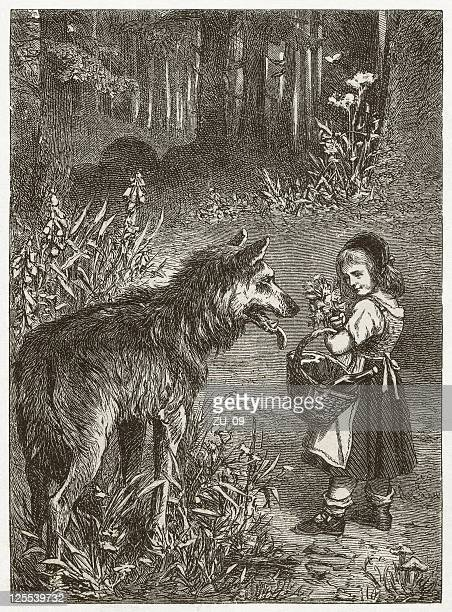 little red riding hood, wood engraving, published in 1873 - little red riding hood stock illustrations, clip art, cartoons, & icons