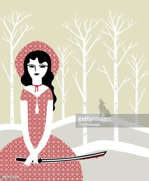 ilustrações de stock, clip art, desenhos animados e ícones de little red samurai - chapeuzinho vermelho