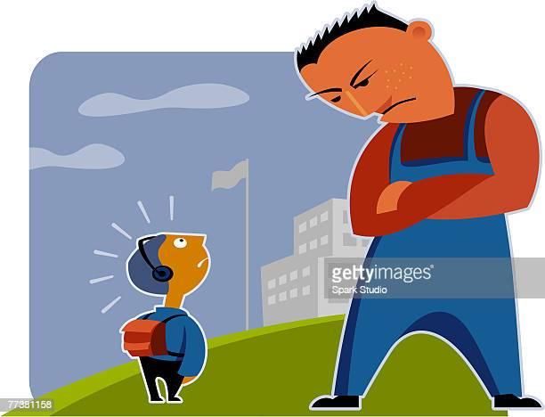 ilustraciones, imágenes clip art, dibujos animados e iconos de stock de a little schoolboy being confronted by a big bully - bullying escolar
