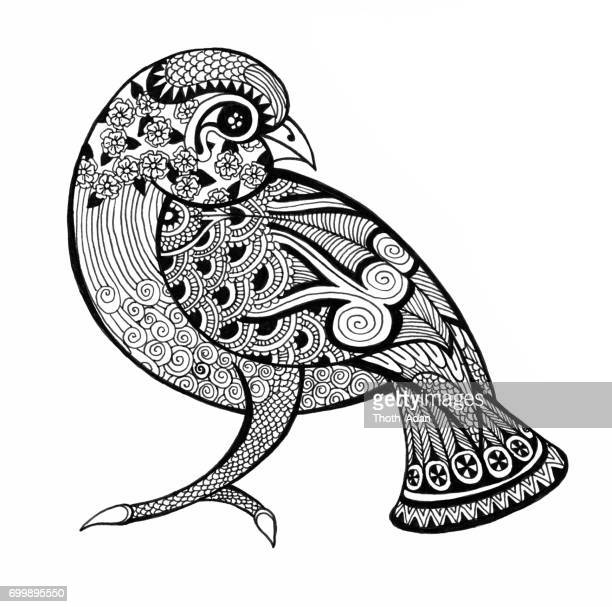 little sparrow doodle drawing - filigree stock illustrations