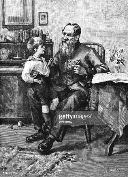 Poco Victoriana niño hablando con un viejo soldado