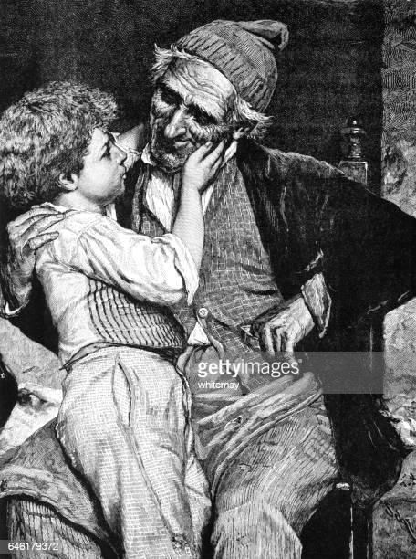 Niño victoriano con su abuelo