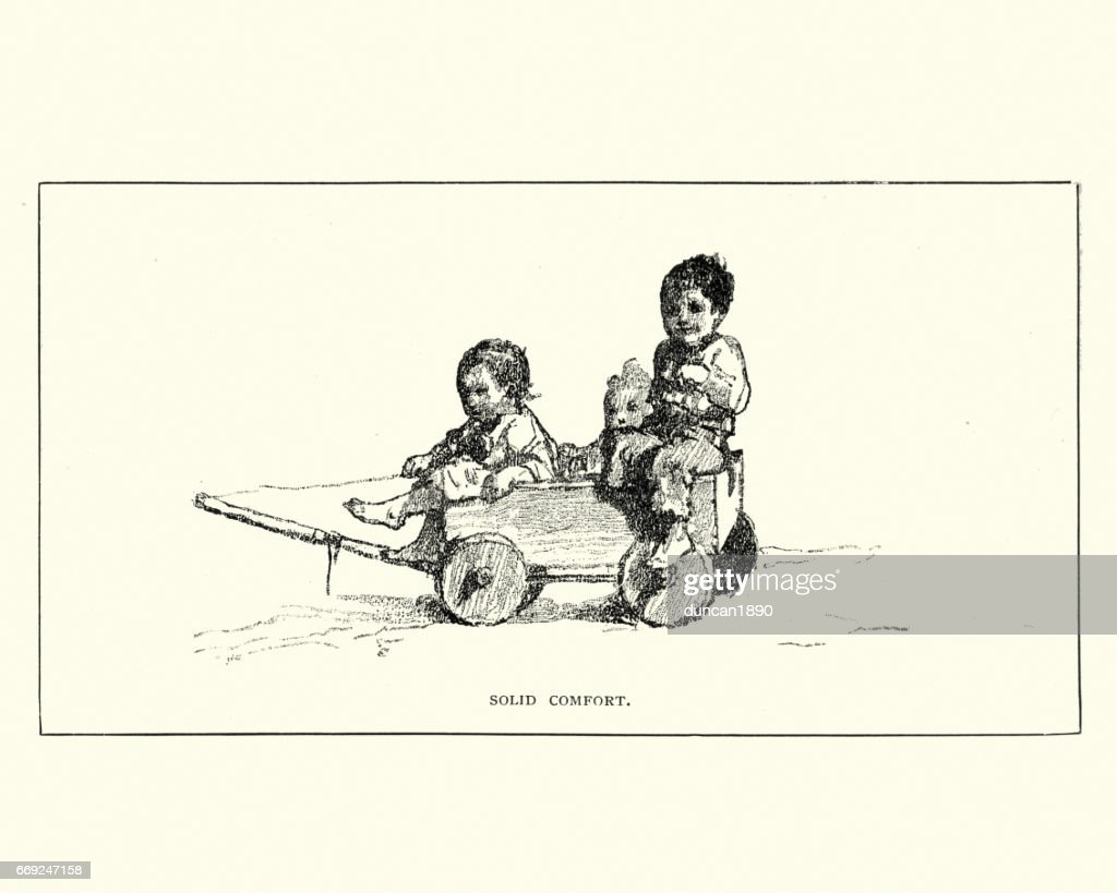 Little victorian children playing in a cart, 19th Century : stock illustration