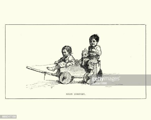 Little victorian children playing in a cart, 19th Century