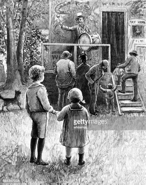 little victorian children visiting a fairground attraction - barker stock illustrations, clip art, cartoons, & icons