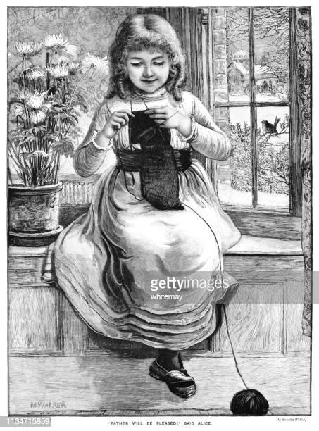 Pequeña chica victoriana tejer una prenda para su padre