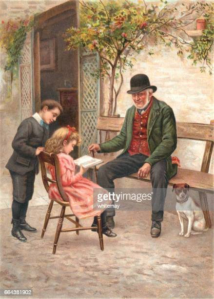 Little Victorian girl reading a book with her family and dog
