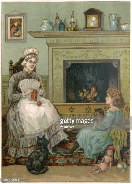 little victorian girl sitting beside the nursery fire with her nurse and cats - carer stock illustrations, clip art, cartoons, & icons