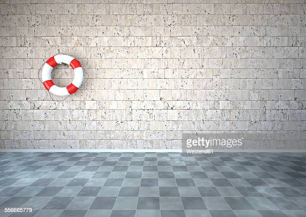 Live saver hanging on natural stone wall in room with checkerboard pattern floor, 3D Rendering