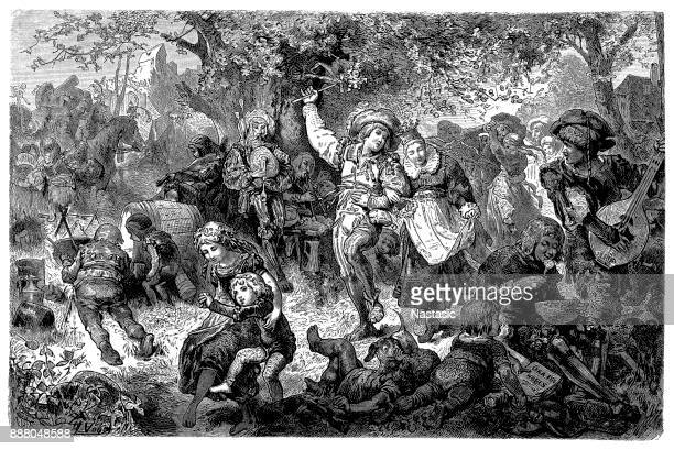 a lively scene of a peasants festival ,16th century - 16th century style stock illustrations, clip art, cartoons, & icons