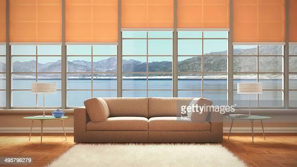 living room, 3d illustration - blinds stock illustrations, clip art, cartoons, & icons