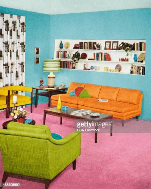 ilustraciones, imágenes clip art, dibujos animados e iconos de stock de sala de estar - decorar