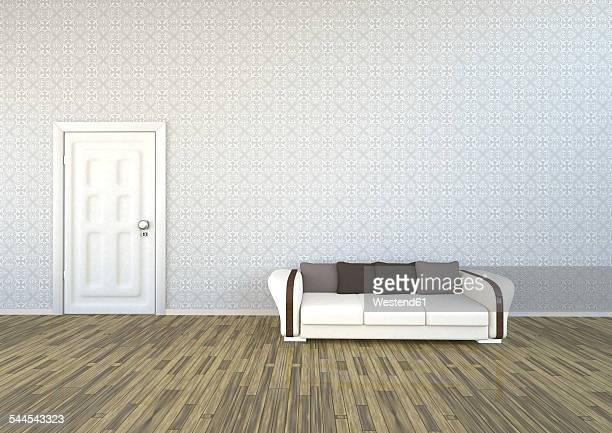 Livingroom with patterned wallpaper, couch and white door, 3D Rendering