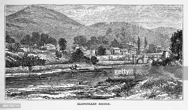 Llangollen Bridge, in Llangollen, Wales Victorian Engraving, Circa 1840