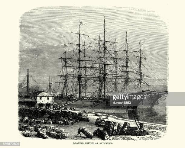 loading cotton on to ships, savannah, georgia, 19th century - savannah georgia stock illustrations, clip art, cartoons, & icons