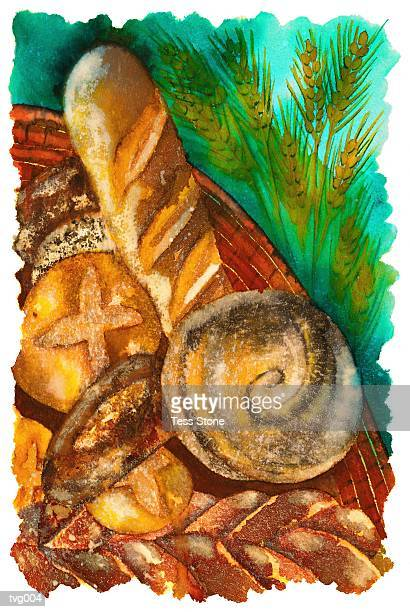 loaves of bread - artisanal food and drink stock illustrations, clip art, cartoons, & icons