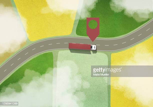location marker above commercial truck driving among rural fields - journey stock illustrations