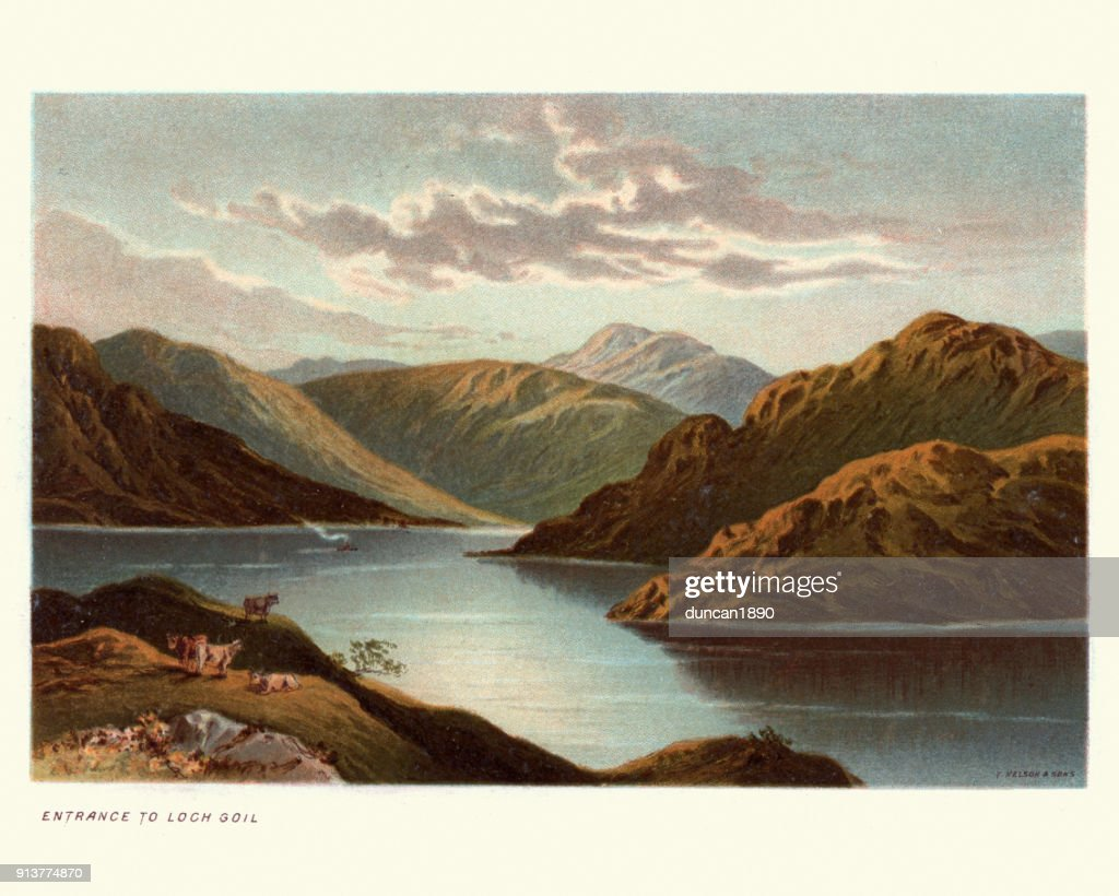 Loch Goil, Scotland, 19th Century : stock illustration