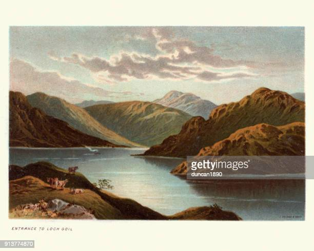 loch goil, scotland, 19th century - lithograph stock illustrations