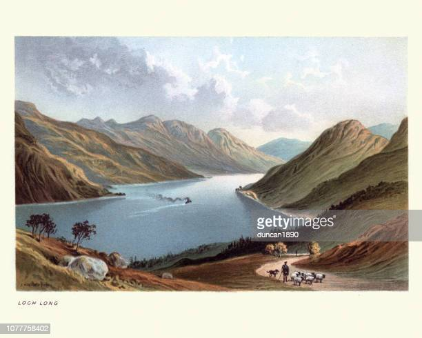loch long, scotland, 19th century - clyde river stock illustrations, clip art, cartoons, & icons