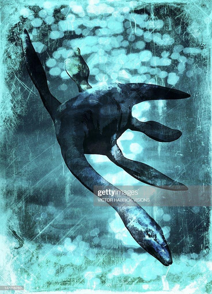 Loch Ness monster, artwork : Stock Illustration