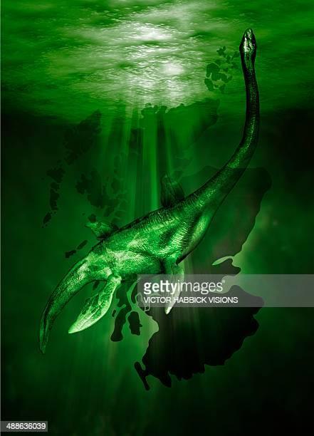 ilustraciones, imágenes clip art, dibujos animados e iconos de stock de loch ness monster, artwork - criptozoología