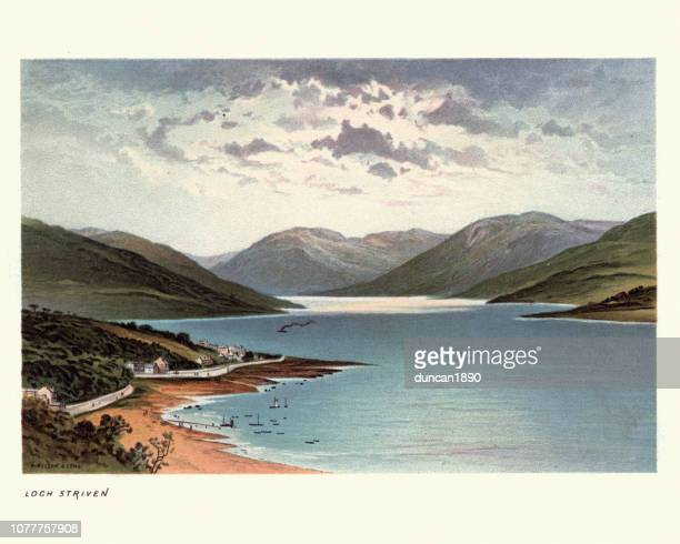 loch striven, scotland, 19th century - clyde river stock illustrations, clip art, cartoons, & icons