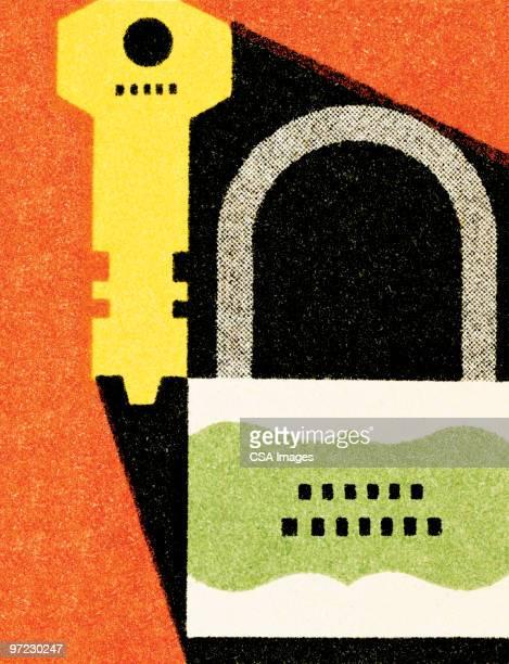 lock and key - lock stock illustrations